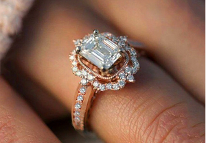 Luxury Princess Cut Zirconia Engagement Ring