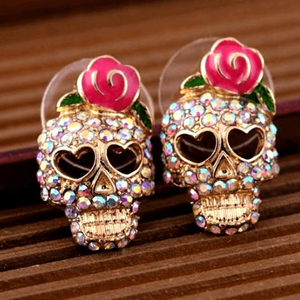 Free Jewelry - Rose Sugar Skull Earrings - Clever Clad