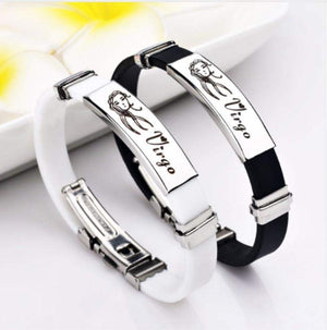 Zodiac Signs Stainless Steel Rubber Bracelets for Men and Women