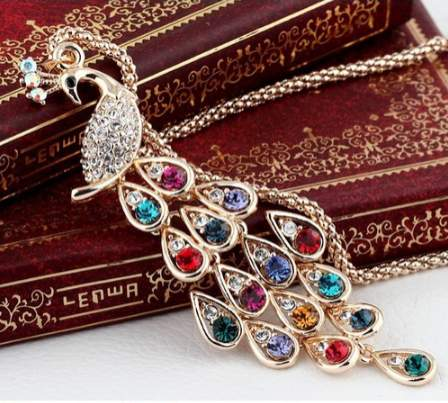 Free Jewelry - Dazzling Colorful Peacock Necklace - Clever Clad