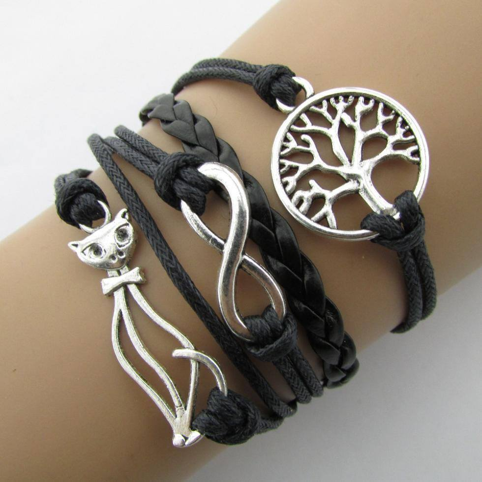 Free Jewelry - Black Leather Cat Bracelet - Clever Clad