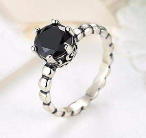Unique Black Crystal Twisted Wedding / Engagement Ring