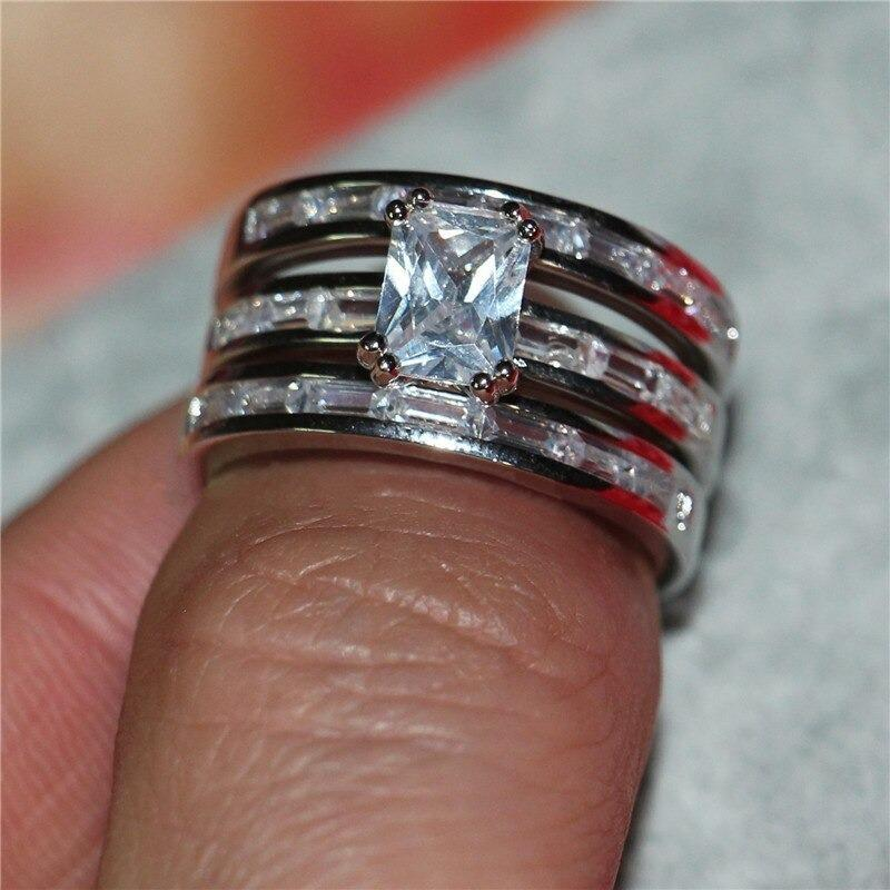 3pcs Princess Cut Crystal Ring