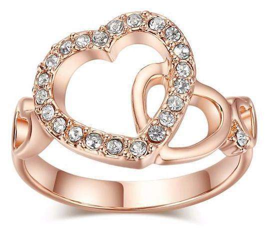 Romantic Dual Hearts Crystal Love Ring