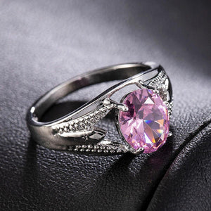 Oval Crystal Engagement Ring