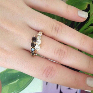 Best Selling White & Black Crystals Engagement Ring