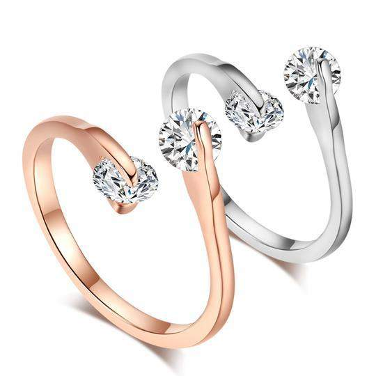 Classic Romantic Twin Crystals Love Ring