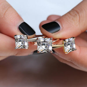 Square Cutting CZ Prong Ring