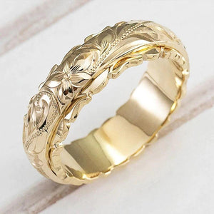 Craved Flower Pattern Ring