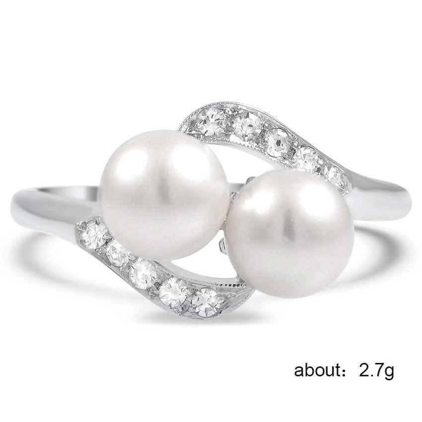 Double Simulated Pearl Ring