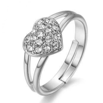 Best Selling Genuine Austrian Crystals Heart Wedding Ring
