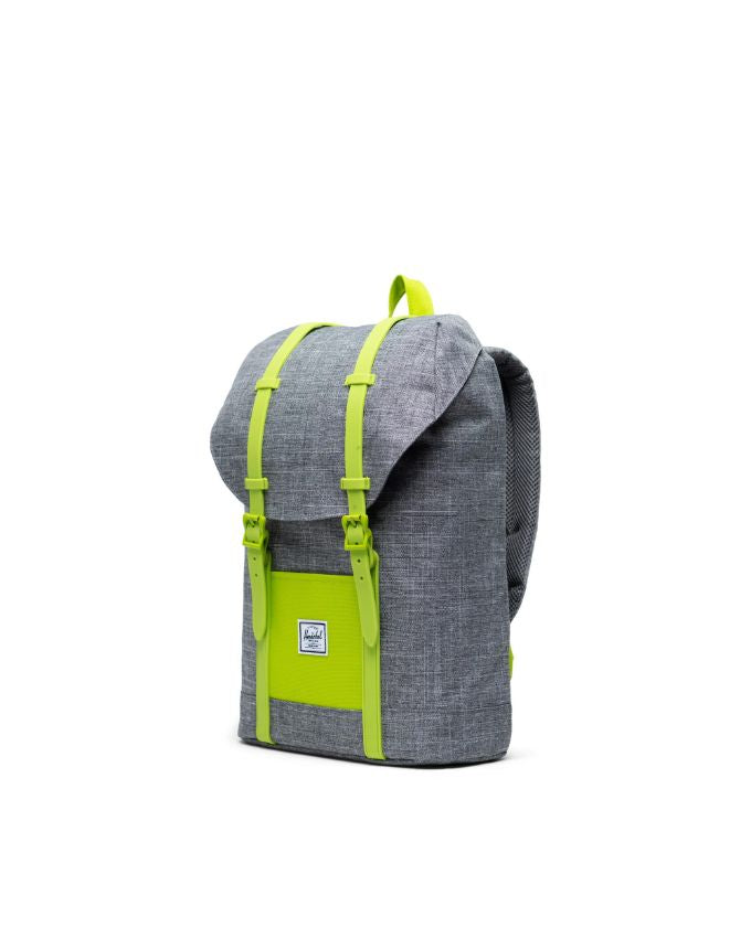 Herschel Raven Crosshatch/Lime Green Retreat Youth Backpack