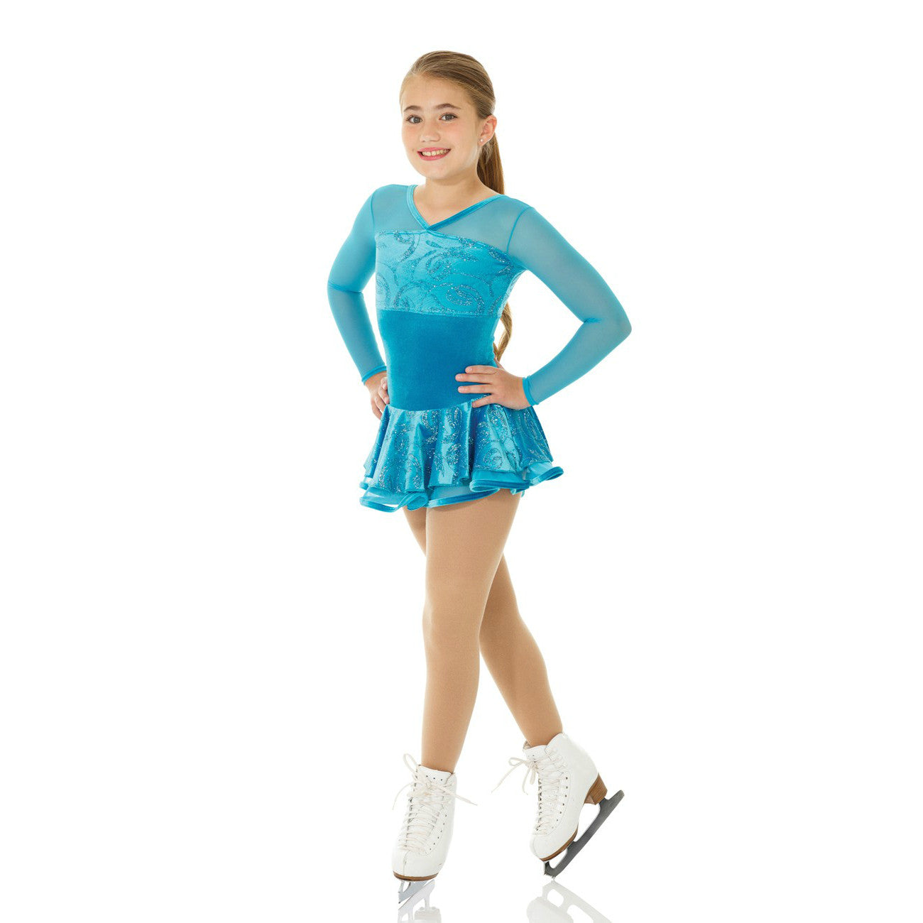 Mondor Turquoise Ribbons Glitter Velvet Skating Dress
