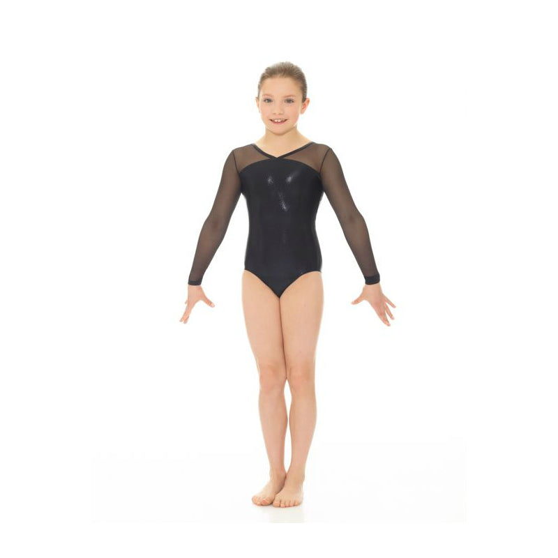 Mondor Adult Black Metallic Printed Long-Sleeved Leotard