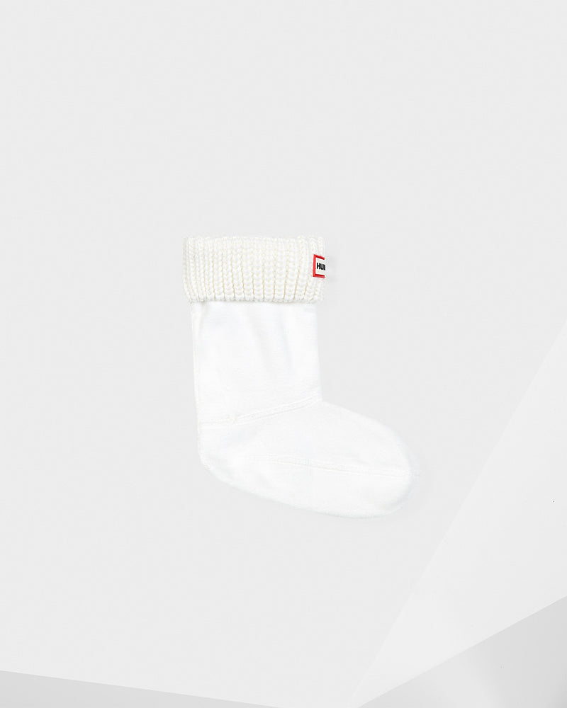 Hunter Kids Original White Half-Cardigan Stitch Boot Sock