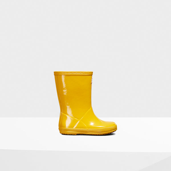Hunter Yellow Original Kids First Gloss Rainboot