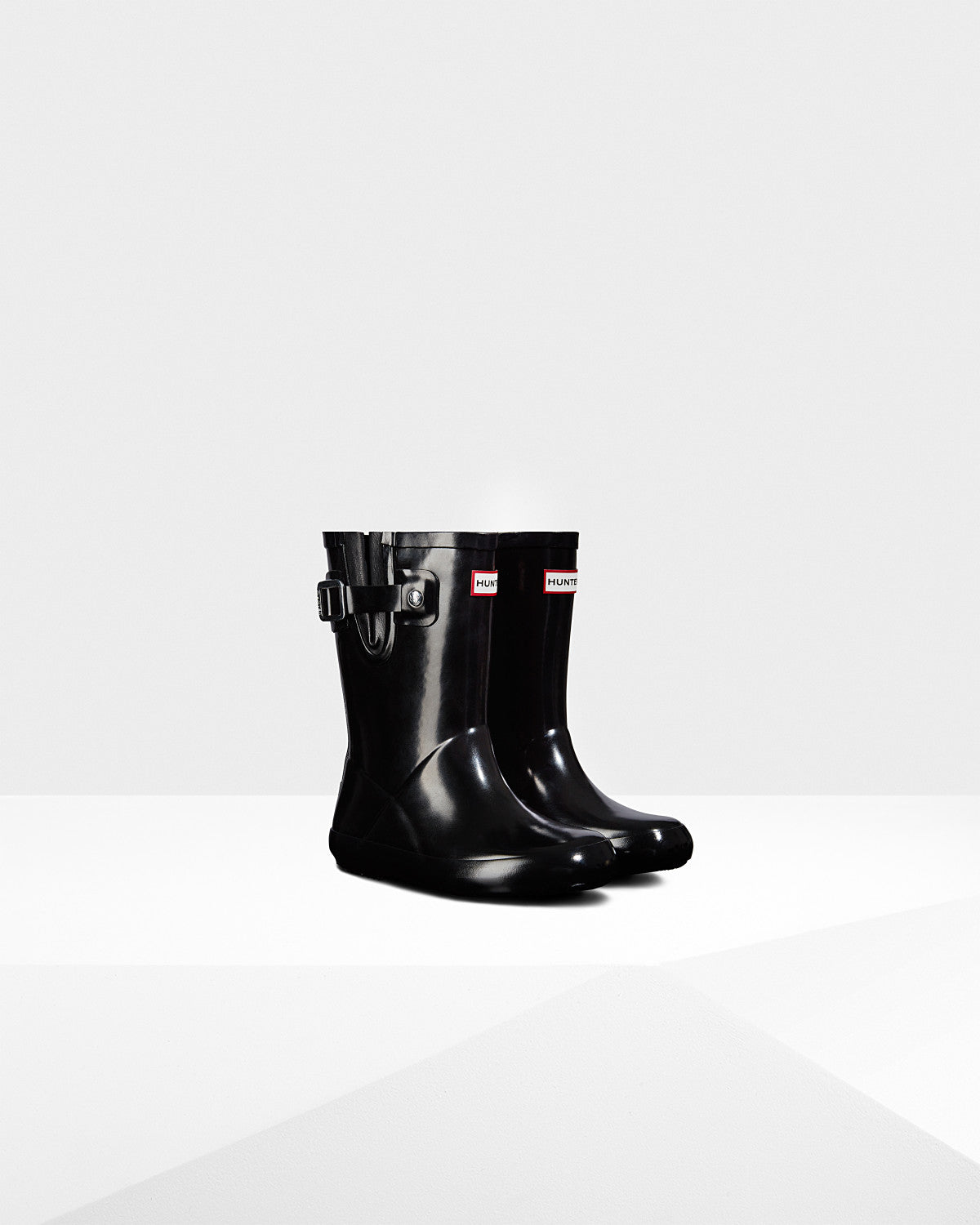 Hunter Black Gloss Original Kids Flat Sole Rain Boot