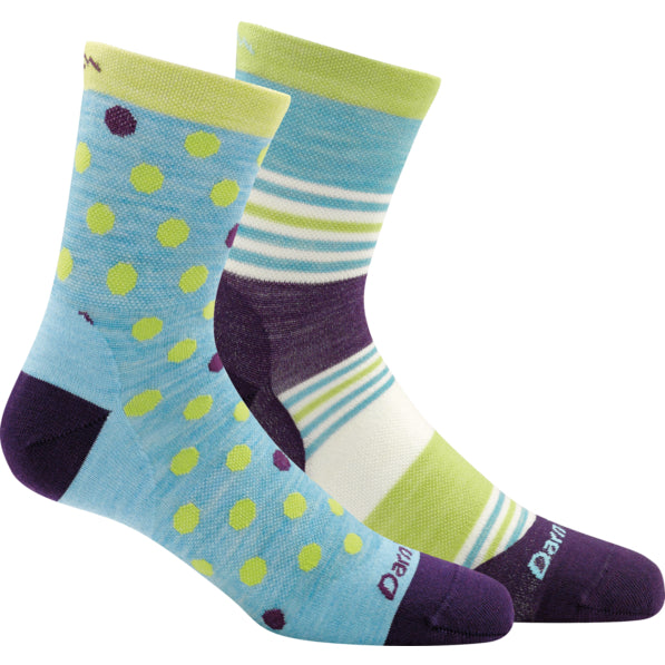 Darn Tough Aqua Dot and Stripe Crew Light Sock