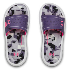 Under Armour White/Purple Luxe/Mojo Pink Ignite Jagger VIII Big Kid Slide
