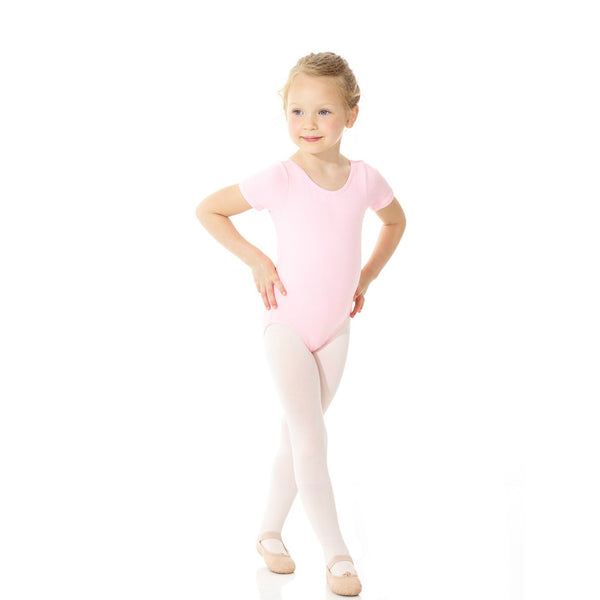 Mondor Classic Pink Cotton Short-Sleeved Leotard