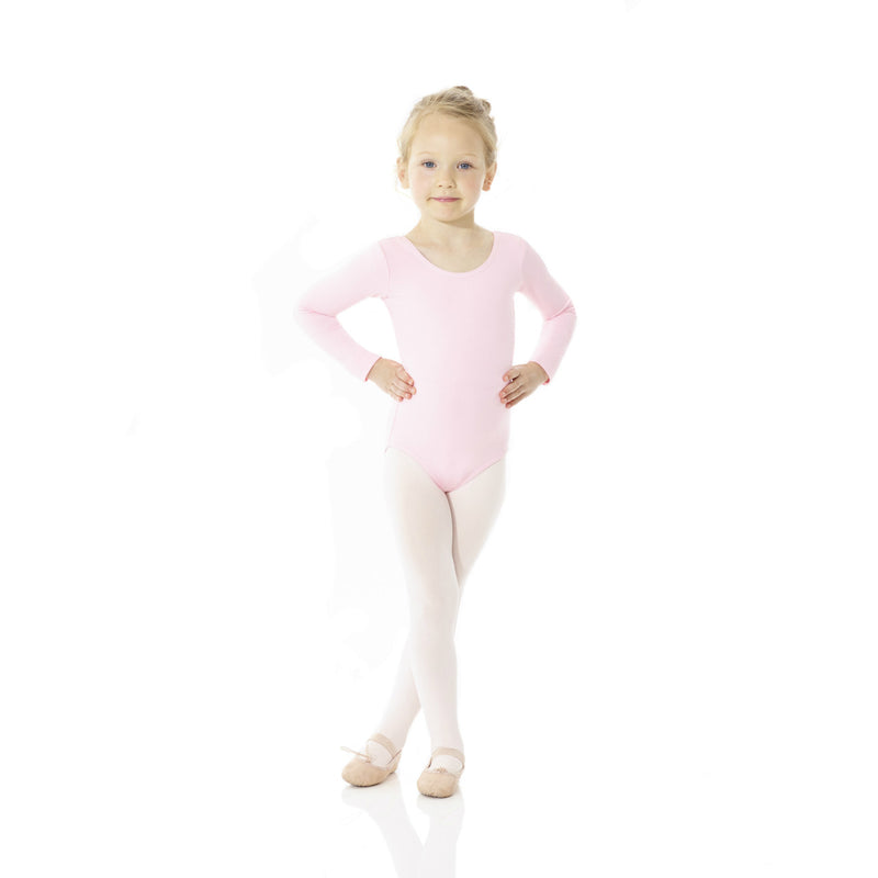 Mondor Classic True Pink Cotton Long-Sleeved Leotard