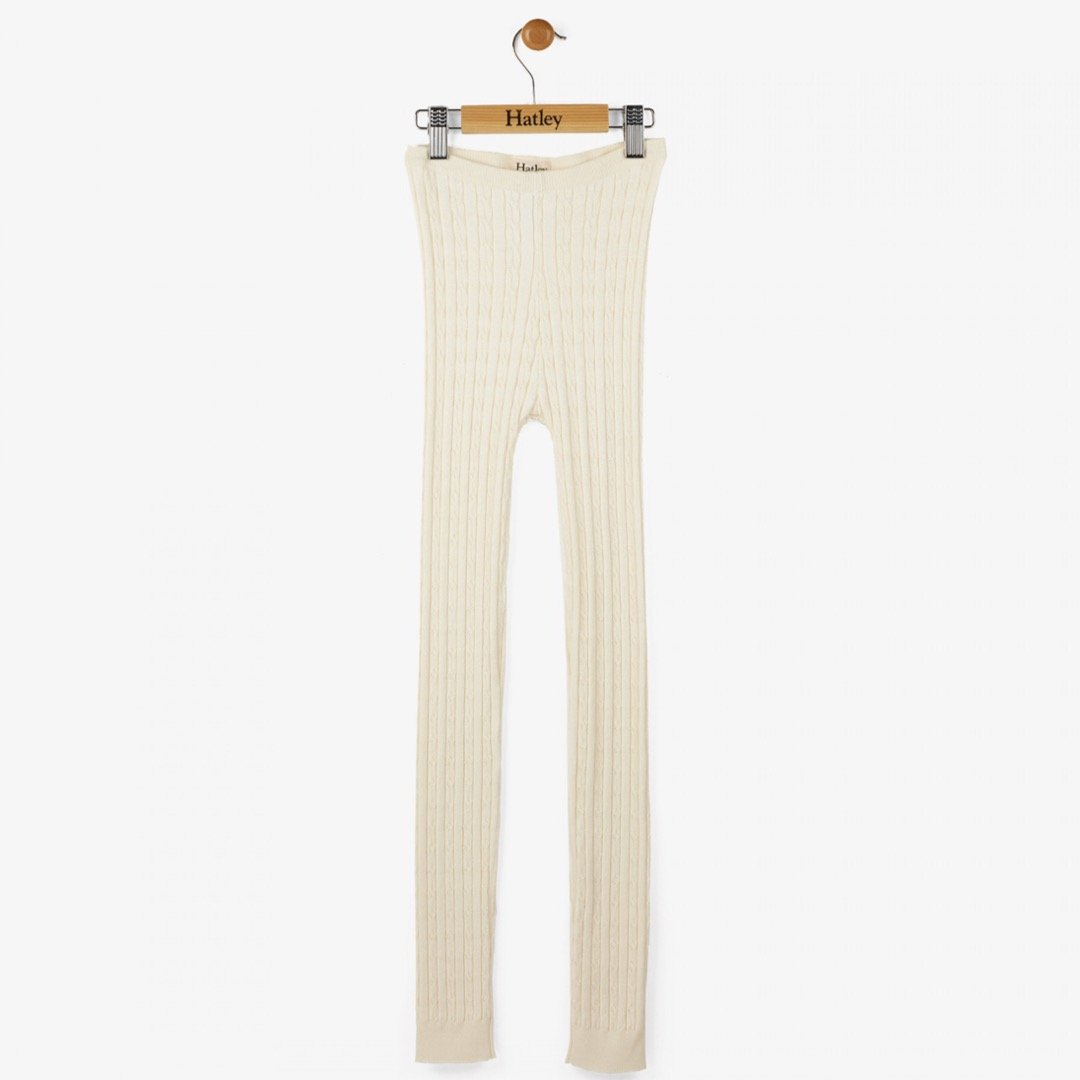 Hatley Cream Cable Knit Footless Tights