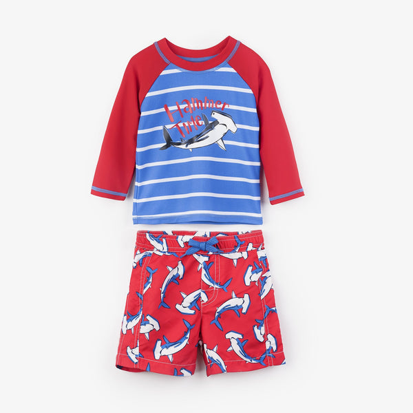 Hatley Loop-The-Looping Hammerhead Mini Swim Trunks & Rash Guard