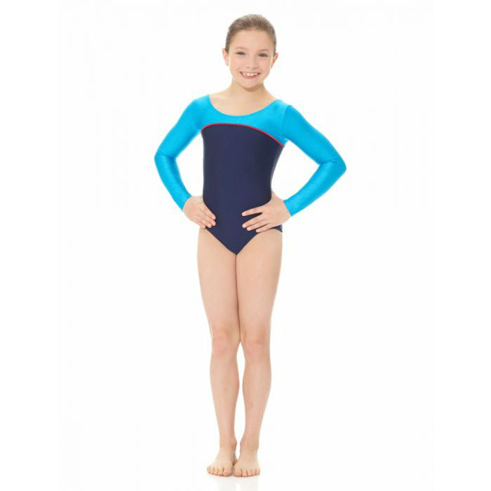 Mondor Navy/Turquoise Long-Sleeved Leotard