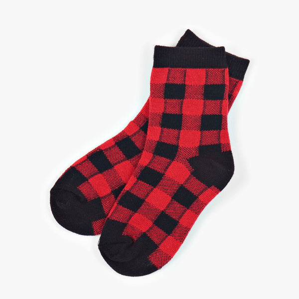Little Blue House Buffalo Plaid Crew Socks