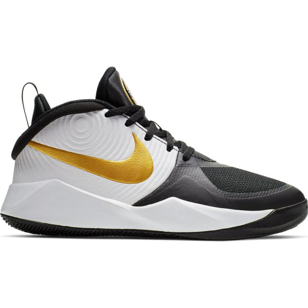 Nike Black/Metallic Gold/White Team Hustle 9 Big Kid Sneaker
