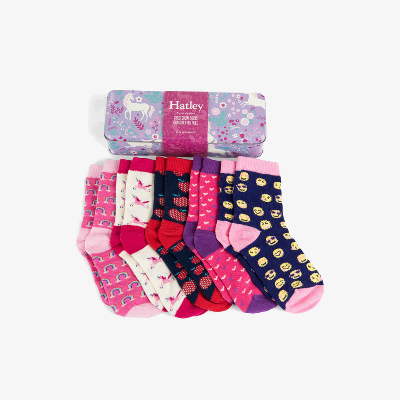 Hatley Magical Unicorns Crew Socks Gift Tin