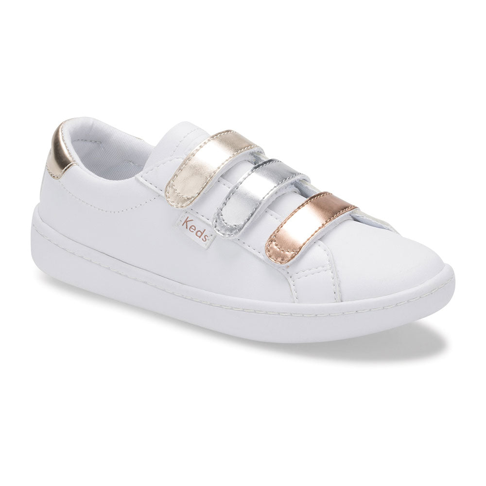 Kids Triple Metallic 3-Velcro Ace Sneaker