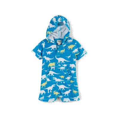 Hatley Dinos Hooded Baby Terry Romper