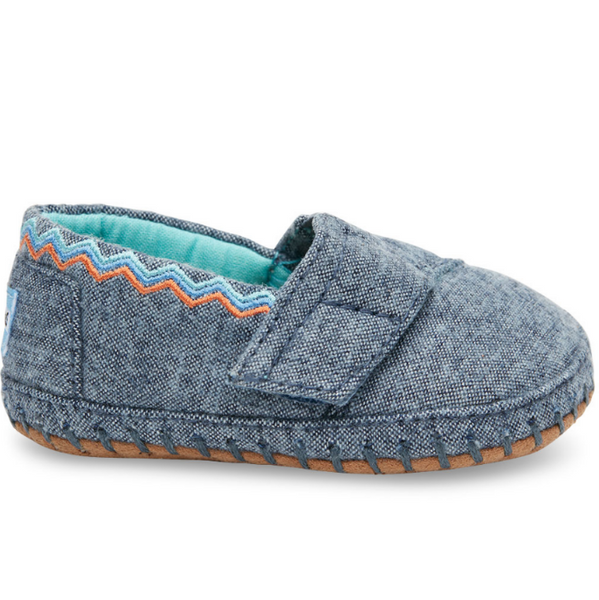 TOMS Blue Chambray Crib Shoes