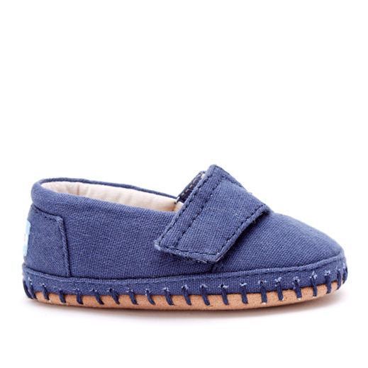 TOMS Navy Canvas Crib Shoe