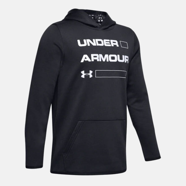 Under Armour Black/White Fleece Wordmark Hoody