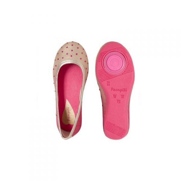 Pampili Gold/Pink Children's Twist Flat