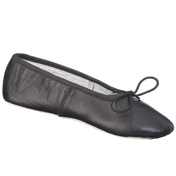 Johnny Brown Demi Pointe Adult Black Leather Ballet Slipper