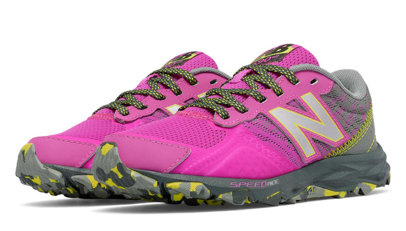 New Balance Fluorescent Pink with Grey 690v2 Children's/Youth Wide Trail Sneaker