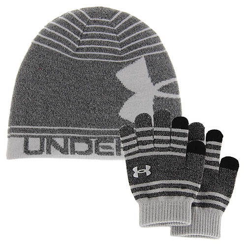Under Armour Kids Black Knit Beanie/Glove Combo