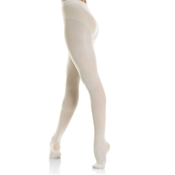 Mondor Adult White Durable Footed Tights