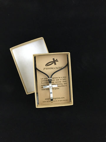 Medium Sterling Silver Fish Cross Pendant