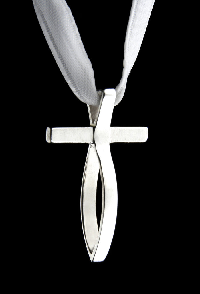 Small white gold fish cross pendant
