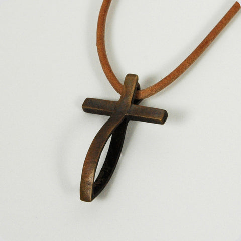 Medium Bronze Antiqued Fish Cross Pendant