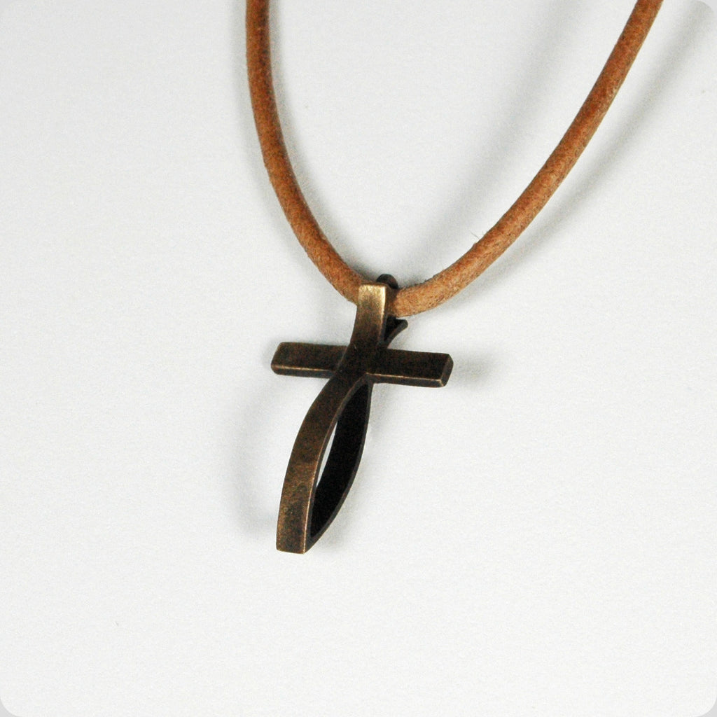 Small Antiqued Bronze Fish Cross Pendant