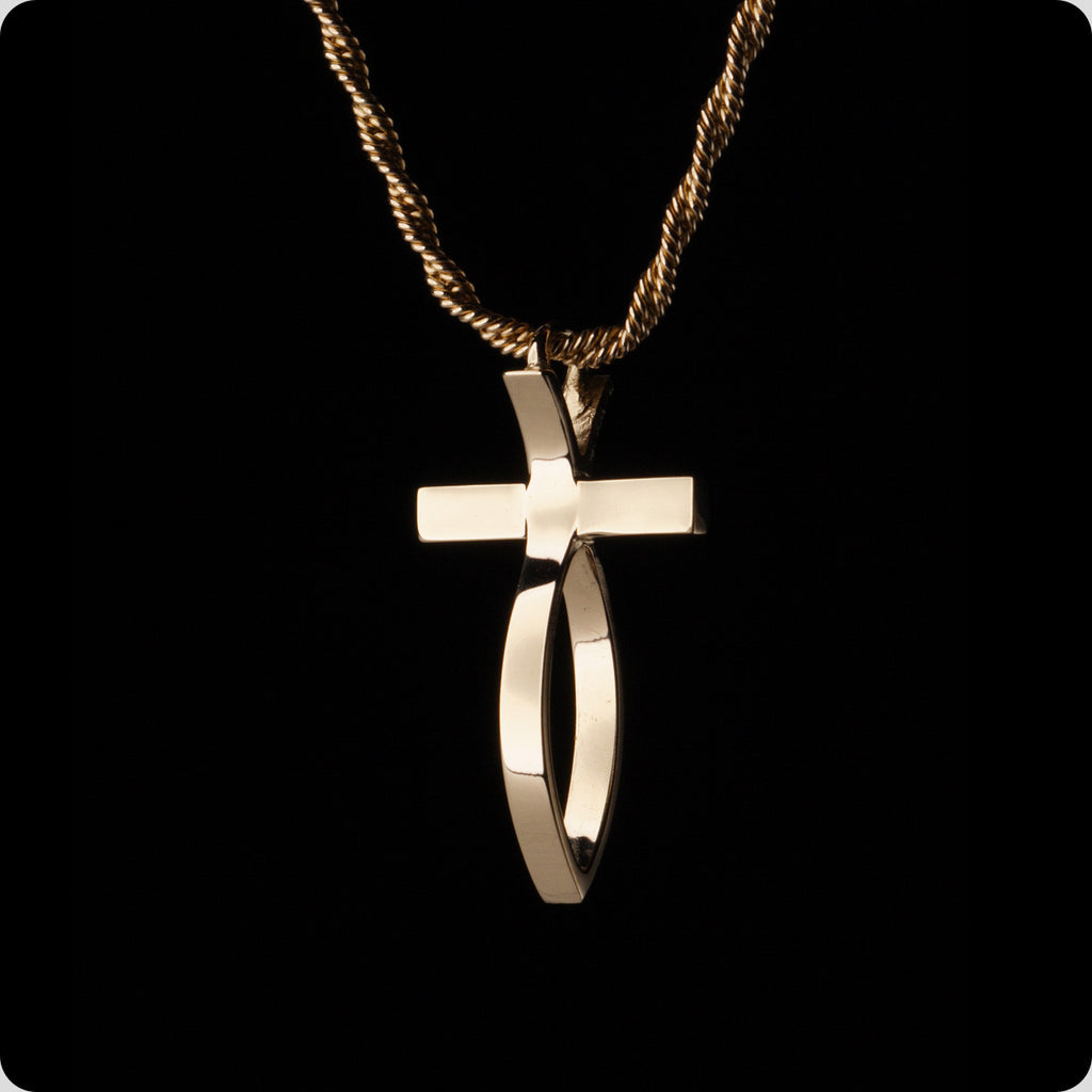Special Order Yellow Gold Fish Cross Pendant