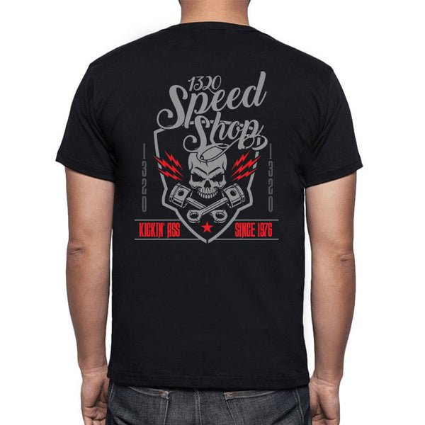 1320 Speed Shop Black Tee - Skull & Crossbones