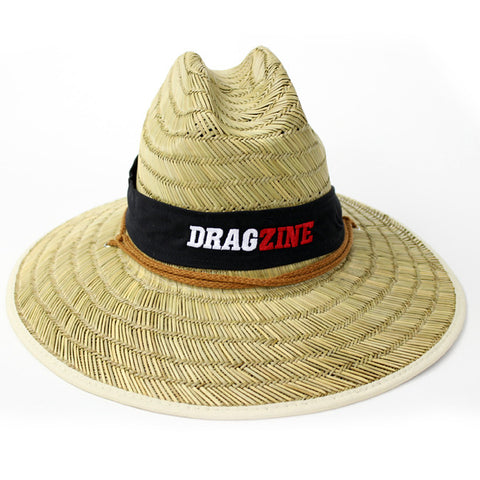 Straw lifeguard hat with Dragzine embroidered logo.