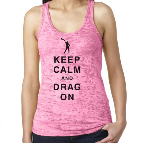 Ladies Keep Calm and Drag On Silhouette Racerback Tank