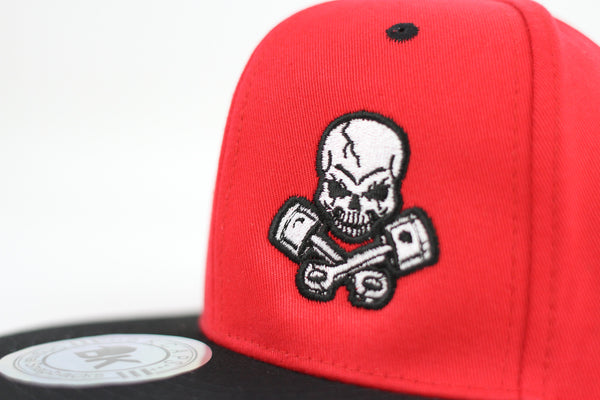Piston Rods Skull and Crossbones Adjustable Flat Bill Cap, Red/Black